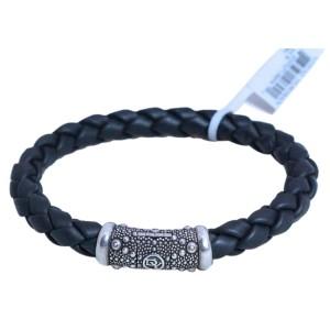 David Yurman Sterling Silver 8mm Sea Urchin Woven Black Rubber Bracelet
