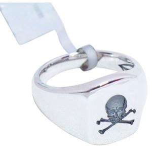 David Yurman Sterling Silver Skull Signet Band Ring
