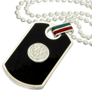 Gucci Sterling Silver Crest Dog Tag Ball Chain Pendant Necklace