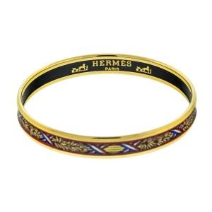 Hermes Printed Enamel Leaves Gold Tone Cuff