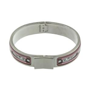 Hermes White & Pink Enamel Buckle Cuff