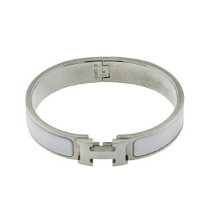 Hermes Powder White Enemal H Clic Clac Bracelet
