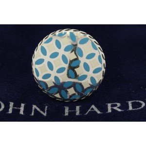 John Hardy 925 Sterling Silver Kawung Blue White Enamel Round Large Ring