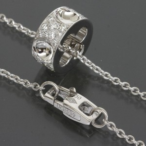 Louis Vuitton 18K White Gold Pave Diamond Empreinte Pendant Necklace