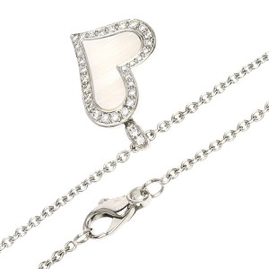 Piaget 18k White Gold & Diamond Lime Light Pink Shell Necklace