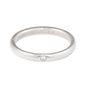 Tiffany & Co. Elsa Peretti Sterling Silver With 0.03ct. Diamond Band Ring Size 8.5