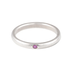 Tiffany & Co. Elsa Peretti Sterling Silver Pink Sapphire Ring Size 9