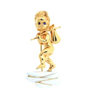Yellow Gold Thursday Child Angel Pin