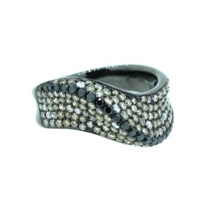 14K Black Rhodium Wave Ring