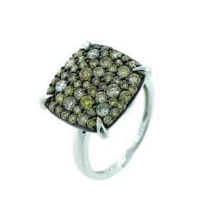 14K White Gold Fancy Colored Diamond Ring