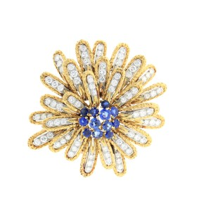 Vintage Van Cleef & Arpels Yellow Gold diamond and sapphire pin