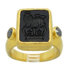 Gurhan 24K Yellow Gold Black Diamond And Onyx Ring