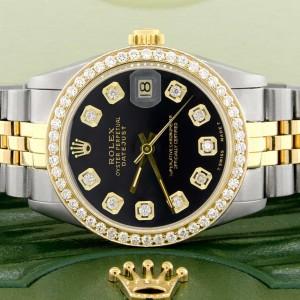 Rolex Datejust 2-Tone 18K Gold/SS Midsize 31mm Womens Watch with Black Dial & Diamond Bezel