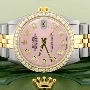 Rolex Datejust 2-Tone 18K Gold/SS Midsize 31mm Womens Watch with Orchid Pink Dial & Diamond Bezel