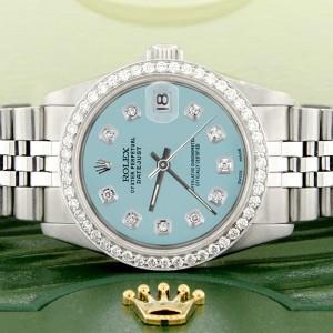 Rolex Datejust Midsize 31MM Automatic Stainless Steel Women's Watch w/Ice Blue Dial & Diamond Bezel