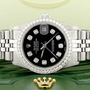 Rolex Datejust Midsize 31MM Automatic Stainless Steel Women's Watch w/Black Dial & Diamond Bezel