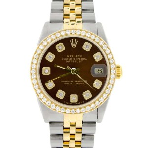 Rolex Datejust 2-Tone 18K Gold/SS Midsize 31mm Womens Watch with Cocoa Brown Dial & Diamond Bezel