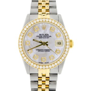 Rolex Datejust 2-Tone 18K Gold/SS Midsize 31mm Womens Watch with White MOP Dial & Diamond Bezel
