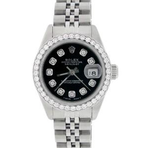 Rolex Datejust Ladies 26MM Automatic Steel Watch w/Black Dial & Diamond Bezel