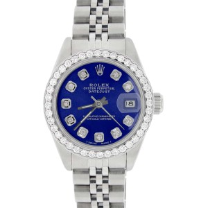 Rolex Datejust Ladies 26MM Automatic Steel Watch w/Royal Blue Dial & Diamond Bezel