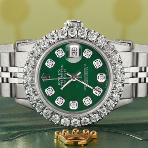 Rolex Datejust Steel 26mm Jubilee Watch 2CT Diamond Bezel / Forest Green MOP Dial
