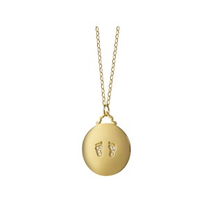 Monica Rich Kosann Yellow Gold Baby Feet Charm Necklace
