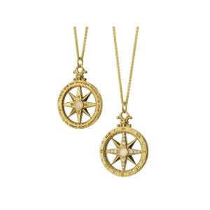 Monica Rich Kosann Yellow Gold Compass Moonstone Charm With Diamonds .29carats