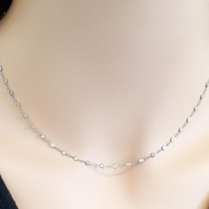 0.75 Carat Total Bezel Set White and Natural Pink Diamond Two-Tone Necklace