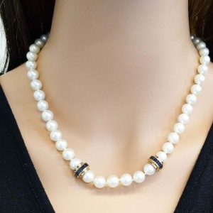 White Pearls and Princess Cut Sapphire Necklace in 18 Karat Yellow Gold