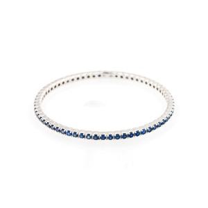 18K White Gold Handset Blue Sapphires Duga- Slip On Bracelet