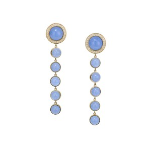 18K Yellow Gold Blue Chalcedony Stena Drop Earrings