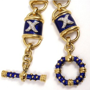 Hidalgo 18K Yellow Gold Blue Enamel X Diamond Toggle Bracelet