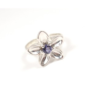 Rare Tiffany & Co. Sterling Silver Iolite Flower Ring