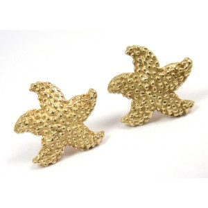 Tiffany Co. 18K Yellow Gold Schuler Textured Bumpy Starfish Stud Earrings