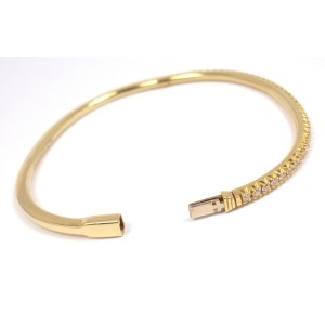 Tiffany & Co. 18K Yellow Gold Metro Diamond Hinged Bangle Bracelet