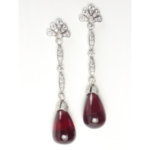 Tiffany & Co. Platinum Pink Tourmaline Rubellite Diamond Drop Dangle Earrings