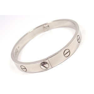 Cartier 18K White Gold Love Bracelet Size 16