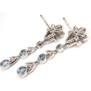 Tiffany & Co. Garland Platinum PT950 Aquamarine Diamond Drop Dangle Earrings