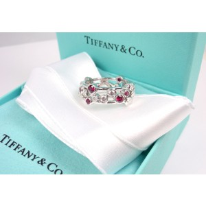Tiffany & Co. Bubbles Platinum Diamond Ruby Band Ring