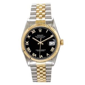 Rolex Men's Datejust Two Tone Fluted Black Roman Dial 36 mm Men's Watch