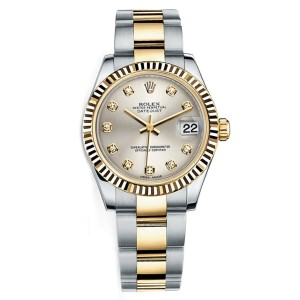 Rolex New Style Datejust Midsize Two Tone Fluted Bezel & Diamond Dial on Oyster Bracelet