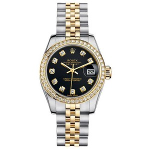 Rolex Women's New Style Two-Tone Datejust with Custom Diamond Bezel and Black Diamond Dial
