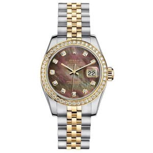 Rolex Women's New Style Two-Tone Datejust with Custom Diamond Bezel and Black Mother of Pearl Diamond Dial