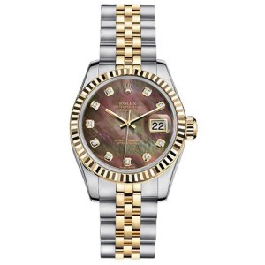Rolex Women's New StyleTwo-Tone Datejust with Custom Black Mother of Pearl Diamond Dial