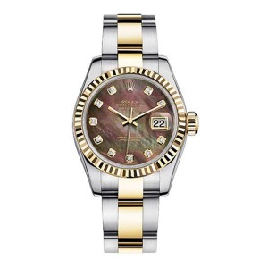 Rolex Women's New Style Two-Tone Datejust with Custom Dark Mother of Pearl Diamond Dial and Bezel on Oyster Band