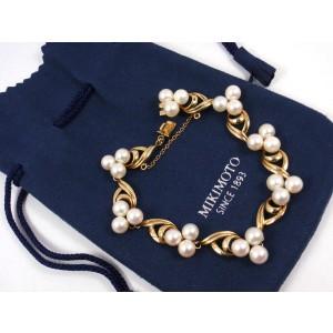 Mikimoto 14K Yellow Gold Cultured Pearl Vintage Bracelet