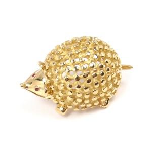 Tiffany & Co. Schlumberger 18K Yellow Gold Hedgehog Ruby Eyes Pin Brooch