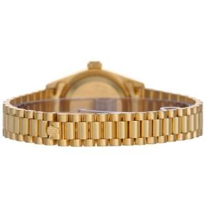 Rolex Women's President Yellow Gold Fluted Black Index Dial 26 mm Women's Watch