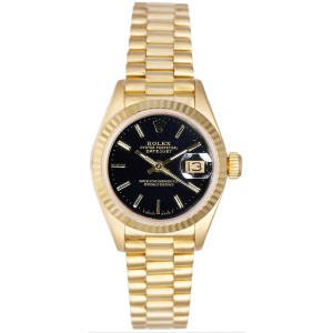 Rolex Women's President Yellow Gold Fluted Black Index Dial