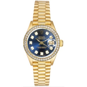 Rolex Women's President Yellow Gold Custom Diamond Bezel & Blue Diamond Dial
